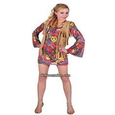 DisfracesMimo, disfraz de hippie con chaleco de adulto para mujer talla M.Vuelve a estos mágicos años con este traje de hippie con su vestido colorido y su bonito chaleco marron.Este disfraz es ideal para tus fiestas temáticas de disfraces hippies Años 60,70 y 80 para mujer adultos.