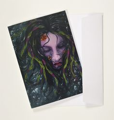 """Greeting cards, set of 4 fantasy notecards of my painting """"Metamorphosis"""", size, blank inside, envelopes included! Easy Writing, A6 Size, Surrealism Painting, Cellophane Bags, White Envelopes, Note Cards, Greeting Cards, Fantasy"""