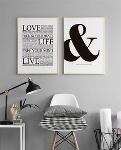Stylish Poster with '&' character. Letter prints in black and white. Apartment Kitchen Organization, Desenio Posters, Living Comedor, Black And White Prints, Paper Frames, Inspirational Wall Art, Typography Prints, Modern Interior Design, Texts