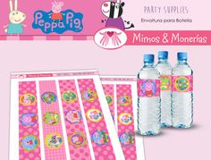 Peppa Pig Water Bottle Labels - Digital Collage Sheet - Birthday Party Digital - Labels - Wrapper - Printable - INSTANT DOWNLOAD