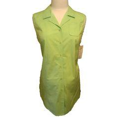 New Duo Maternity Green Sleeveless Stretch Poplin Top