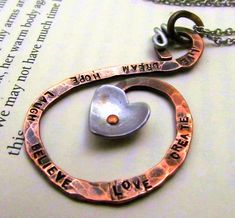 Copper Metalwork Necklace - Hand Stamped Jewelry -  Inspirational Mixed Metal Necklace with Cold Connections Riveted Heart Necklace- CIJ. $29.00, via Etsy.