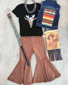 Suede bell bottom serape vest leopard steer t-shirt kids western outfit Toddler Cowgirl Outfit, Kids Cowboy Boots, Cowgirl Outfits, Western Outfits, Baby Outfits, Little Girl Outfits, Cute Outfits For Kids, Toddler Outfits, Kids Western Wear