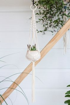 Hoop Macrame Plant Hanger // Natural Cotton Indoor by KnottyBloom Diy Wall Planter, Hanging Wall Planters, Indoor Planters, Flower Planters, Macrame Plant Holder, Macrame Plant Hangers, Plant Holders, Wooden Plant Stands Indoor, Plant Shelves
