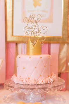 Gorgeous cake! Pink & Gold Princess themed birthday party via Kara's Party Ideas KarasPartyIdeas.com | The Place for All Things Party! #pinkandgoldprincessparty (25)