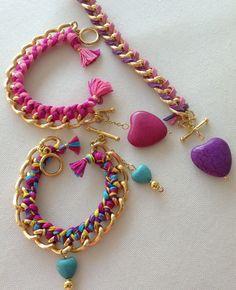 Hilo                                                                                                                                                                                 Más Fabric Necklace, Fabric Jewelry, Beaded Jewelry, Yarn Bracelets, Handmade Bracelets, Handmade Jewelry, Bracelet Tutorial, Diy Earrings, Jewelry Crafts