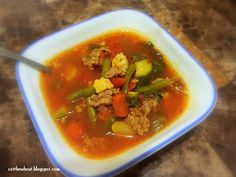 Low Carb, Gluten Free: Spicy Sausage and Chard Soup with Vegetables / Cut the Wheat, Ditch the Sugar