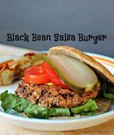 Black Bean Salsa Burger - only 4 ingredients and 15 minutes is all you need to enjoy these delicious, healthy veggie burgers!