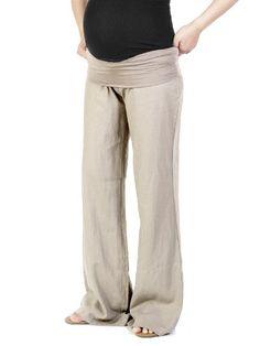 Beachcoco Women's Maternity Fold Over Comfortable Wide Linen Pants (S, Light Sand) Beachcoco http://www.amazon.com/dp/B00IV6PUFK/ref=cm_sw_r_pi_dp_hhEmub0H9KBRY