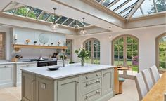 KITCHEN Orangery kitchen extension by Vale Garden Houses Open Plan Kitchen Living Room, Home Decor Kitchen, Country Kitchen, New Kitchen, Kitchen Ideas, Kitchen Layout, Kitchen Island, Kitchen Family Rooms, Smart Kitchen