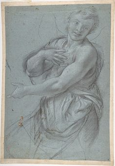 Annibale Carracci  Study for an Angel (recto); Study of a Cushion (verso)