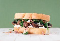 Spinach, Bacon & Goat Cheese Portobello Mushroom Sandwich