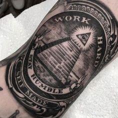 Work hard, Stay humble, Self made Detailed B&G tattoo art Artist IG: Gangster Tattoos, Dope Tattoos, Hand Tattoos, Payasa Tattoo, Money Tattoo, Badass Tattoos, Forearm Tattoos, Body Art Tattoos, Tattoos For Guys