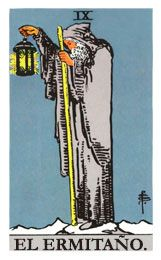 The Hermit Major Arcana Tarot card. The Tarot Hermit card meaning in a nutshell: The lesson and reward, but also misfortune, of solitude. Major Arcana Cards, Tarot Major Arcana, Carl Jung, Charles Fourier, The Hermit Tarot, Rider Waite Tarot Cards, Tarot Waite, Tarot Significado, Rose Croix