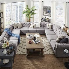 HOME Knightsbridge Tufted Scroll Arm Chesterfield U Shaped Sectional