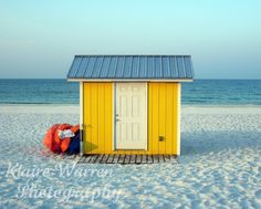 Yellow Beach Shed, Fort Walton Beach, Florida Photography Print By Klaire Warren 11X14 Matted to 16X20