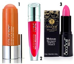 ColorBar All Day Lip & Cheek Color Blush Stick, Coral Sunset, Rs 1,200 (left), The ONE Lip Sensation Matte Mousse, Coral Dream, Rs.699 (middle) and Moisture Matt Lipstick LEAD Free +Vitamin E, SeaSoul Cosmeceuticals (right)
