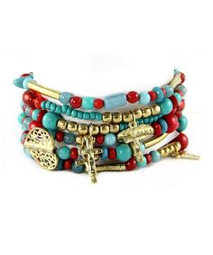 Loving this Gold & Turquoise Multi-Strand Cross Charm Stretch Bracelet on #zulily! #zulilyfinds
