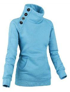 Buttons Embellished Pockets Beam Waist Cotton Blend Solid Color Sweatshirt For Women
