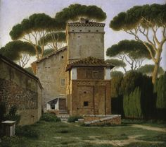 Christoffer Wilhelm Eckersberg (Danish, 1783-1853), The so-called Raphael's Villa in the Garden of the Villa Borghese in Rome, 1814-16, oil on canvas, 27.5 x 24.5 cm. (10.83 x 9.65 in.), Hamburger Kunsthalle, Germany.