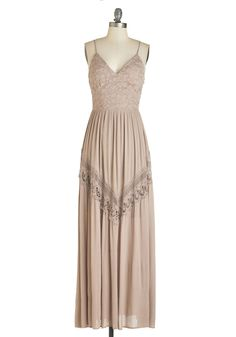 Enlightened with Elegance Dress. As you dance under the twinkle lights, this taupe maxi dress swaying as you move, you feel your heart smile. #tan #modcloth