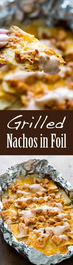 Looking for a great tailgate recipe? These grilled chicken nachos with sour cream BBQ sauce are perfect!