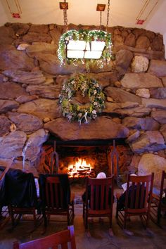 Big stone fireplaces in the grand lobby of The Omni Grove Park Inn in Asheville. 7 feet tall, 7 feet deep, and 10 Feet wide Asheville Spa, Asheville North Carolina, North Carolina Homes, Grove Park Inn, Christmas Getaways, Smokey Mountain, Stone Fireplaces, Holiday Hotel, Paw Paw