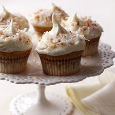 Coconut Cupcakes with Coconut-White Chocolate Frosting