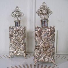 pair of Ornate HOLLYWOOD REGENCY  Metal & Glass Filigree by cammoo, $82.00
