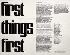 Manifesto First Things First - escrito a 29 de Novembro de 1963 e publicado em 1964 por Ken Garland.