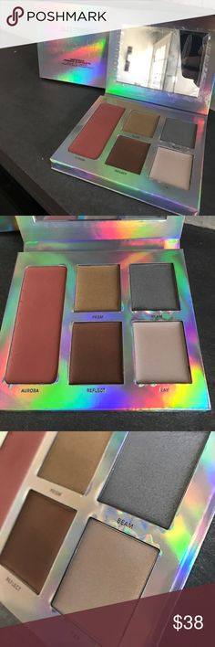 """Laura Mercier Light Struck Prismatic Glow palette Brand new w box, there is some warping on the inside (please see pics below) and also there imprints on """"Aurora"""" from the plastic wrap that protects the mirror but neither of these affect the product Sephora Makeup Luminizer"""