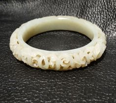 Antique Nephrite Bangle Foliate Carving Qing Dynasty 18th/19th Century by ElegantArtifacts on Etsy