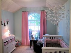 Erfly Mobile Love Wall Color Pink Curtains Nursery S Bedroom