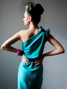 Sea Green Noisette Asymmetric Satin Crepe Dress with Bow Detail  #LOVE