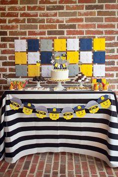 lego birthday party dessert table