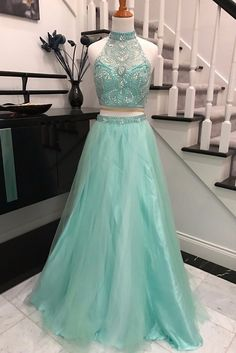 Prom Dresses long, Gowns Prom, Prom Gowns on line, Cheap Prom Dresses, Evening Dresses,Elegant 2 Pieces Sky Blue Backless Prom Dress,Halter Prom Dresses with Beading,SVD436