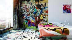 Street Art Invades Hotel Room With Half Graffiti, Half White -DesignBump Colorful Interior Design, Colorful Interiors, Graffiti Room, Street Art, Apartment Painting, Panic Rooms, Das Hotel, Interior Exterior, Retail Design