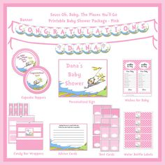 INSTANT DOWNLOAD -DIY Dr. Seuss Oh, Baby The Places You'll Go, Deluxe Printable Package, Pink on Etsy, $15.00