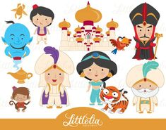 Princess clipart Belle and Beast clipart set / instant Prince Aladdin, Clipart, Little Princess, Princess Logo, Chibi, Belle And Beast, Disney Princesses And Princes, Jack And The Beanstalk, Draw On Photos