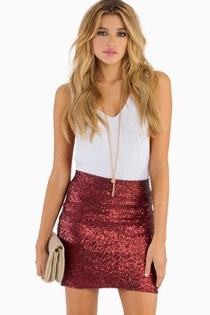 Red Sequin Holiday Party Skirt