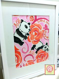 Alpha Omicron Pi Lilly Pulitzer Inspired Watercolor by SREdesign, $20.00