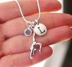 Gymnast Necklace, Gymnast Gifts, Personalized Gymnast Necklace, Letter Birthstone, Letter L, March, Silver, Gymnastics Necklace, Custom