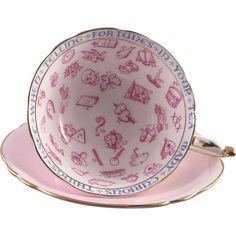 """Paragon Fortune Teller Tea Cup and Saucer, Pink and white with gilt edges. he original name for the pattern was Signs & Omens. Around the inside of the cup are the words """"Many Curious Things I See When Telling Fortunes In Your Tea. Reading Tea Leaves, Tea Reading, Vintage Tea, Vintage Pink, Tea Cup Saucer, Tea Cups, Fortune Telling Cards, Astrological Symbols, Fortune Teller"""