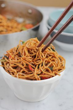 Vegetable Chow Mein is a delicious Asian side dish or dinner. This easy chow mein recipe is quick, e Vegan Recipes Easy, Veggie Recipes, Asian Recipes, Vegetarian Recipes, Cooking Recipes, Chow Mein, Food Porn, Paella, Good Food