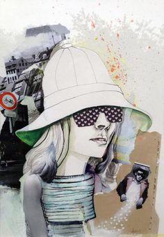 """""""Hat Lady!"""" - 50 x 70 cm. original collage af Solveig Mønsted Hvidt"""