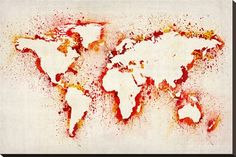 Map of the World Paint Splashes Stretched Canvas Print by Michael Tompsett - AllPosters.co.uk