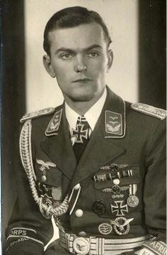 Portrait of 1st Lt Rudi Wolfmueller of the Afrika Korps Luftwaffe contingent in full dress uniform, c. 1943.