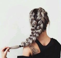 20 Easy holiday hairstyles for medium to long length hair, thick pastel braid