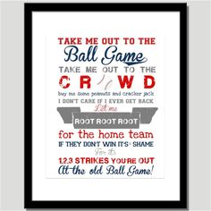 Great print for the baseball bedroom!