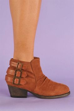 Florentine Strap Booties - Brown